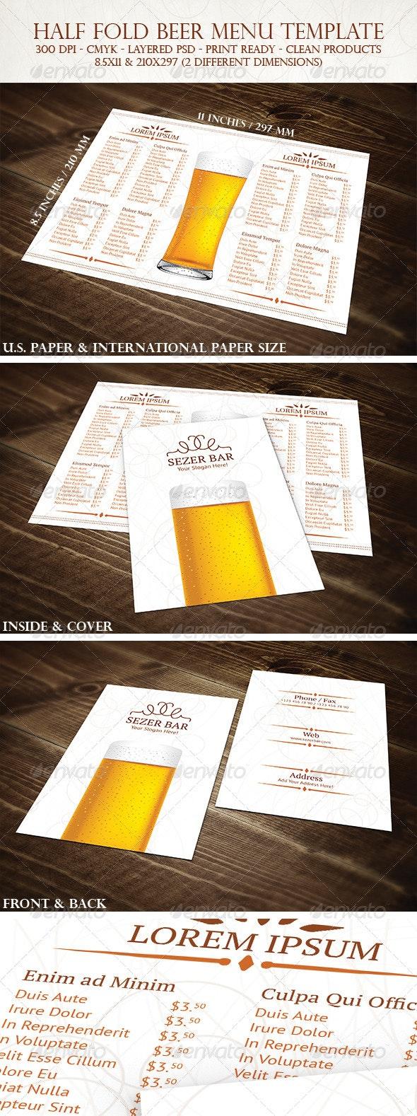Half Fold Beer Menu Template - Food Menus Print Templates