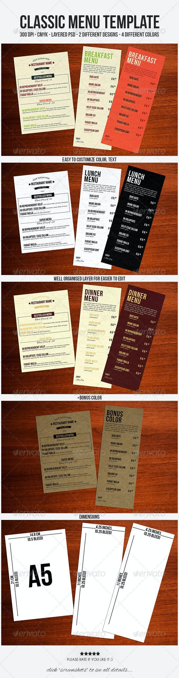 Classic Menu Template - Food Menus Print Templates