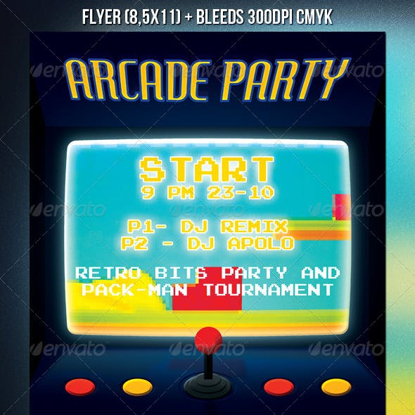 Arcade Party PSD Flyer