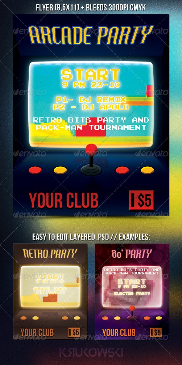 Arcade Party PSD Flyer - Miscellaneous Events