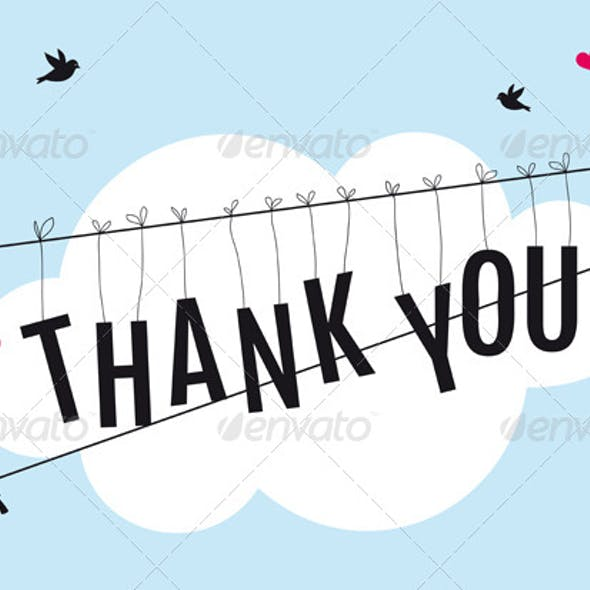 Thank You Card with Birds In the Sky