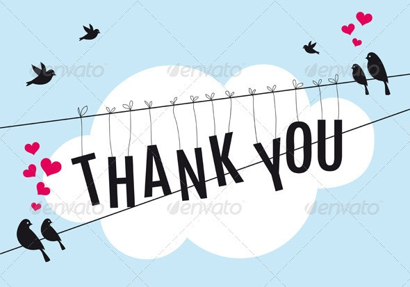 Thank You Card with Birds In the Sky - Animals Characters