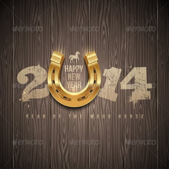 New 2014 Year Greetings Design with Horseshoe