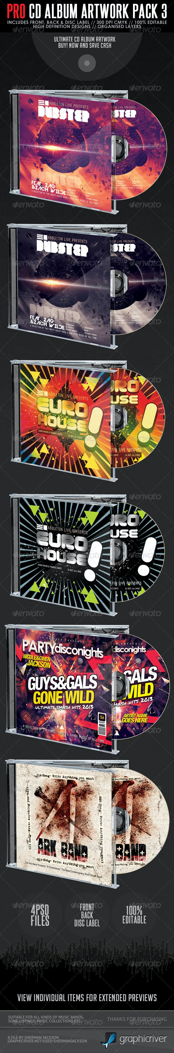 Pro CD Artwork Bundle Package V.3 - CD & DVD Artwork Print Templates