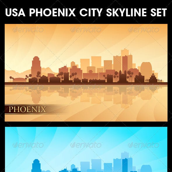 Phoenix USA City Skyline Silhouettes Set