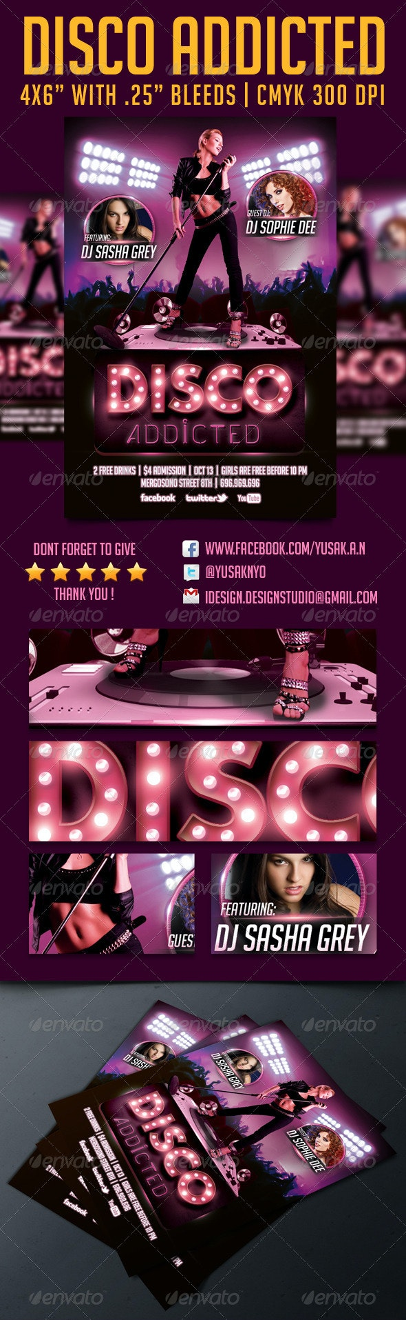 Disco Addicted Flyer Template - Clubs & Parties Events
