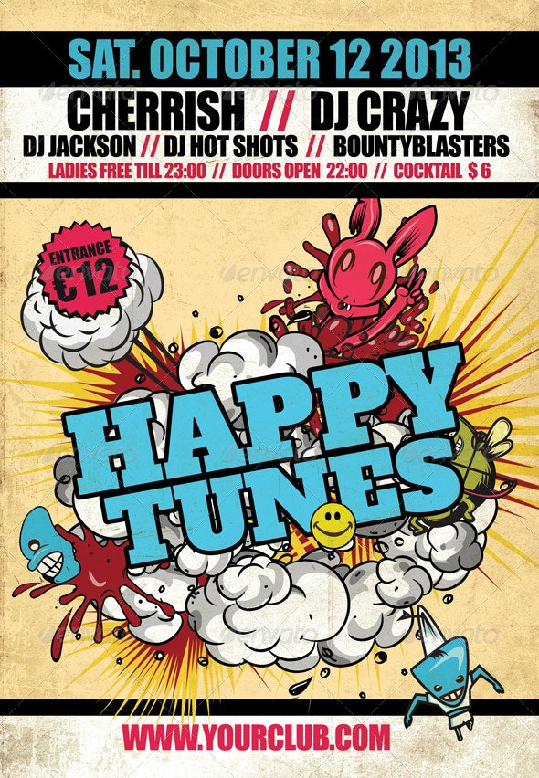 Flyer template Happy Tunes - Clubs & Parties Events