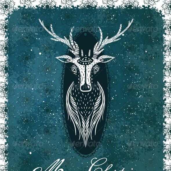 Merry Christmas Vintage Deer Greeting Card