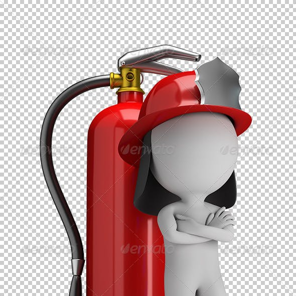 3D Small People - Fireman and a Large Extinguisher