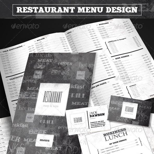 "Restaurant Menu Design ""Meat&Wine"""