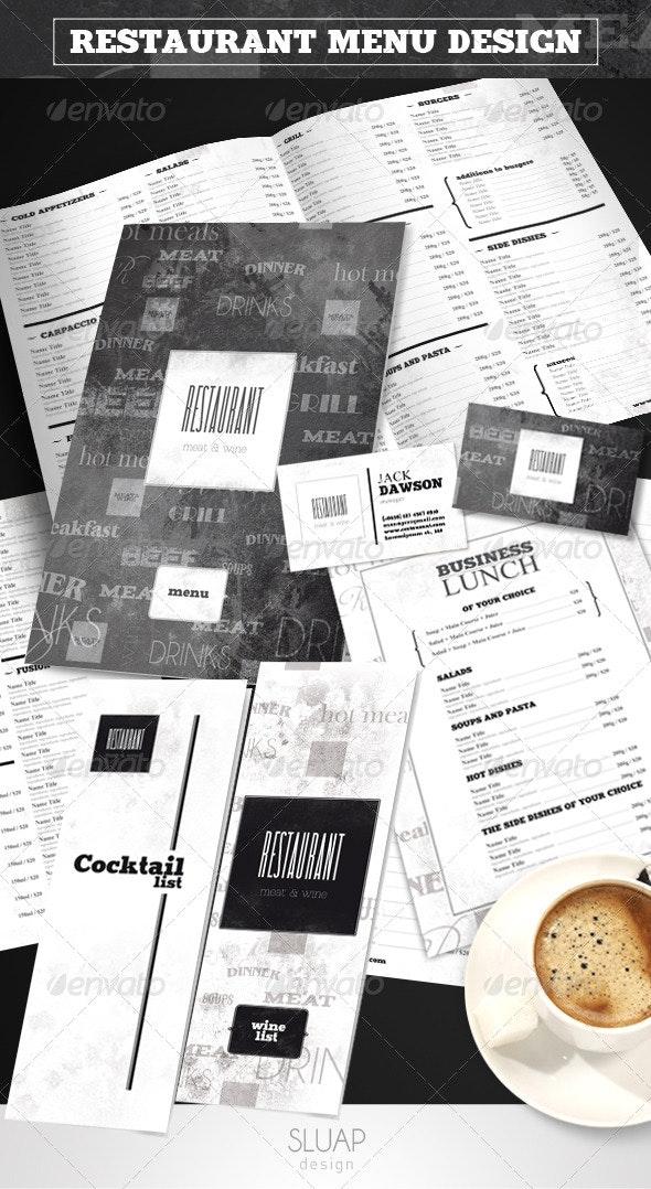 """Restaurant Menu Design """"Meat&Wine"""" - Food Menus Print Templates"""