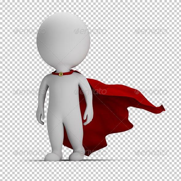 3d small people - brave superhero