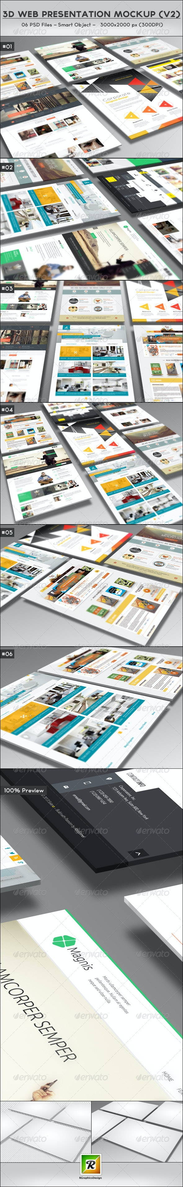 3D Web Presentation Mockup (V2) - Website Displays