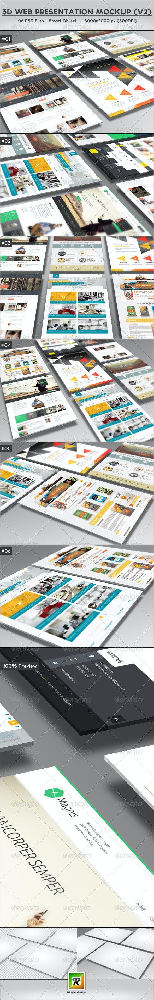 3D Web Presentation Mockup (V2) - Website Displays