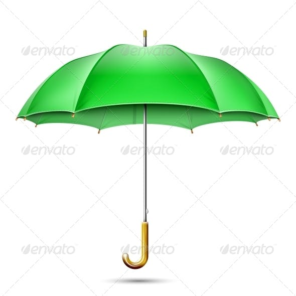 Realistic Detailed Green Umbrella