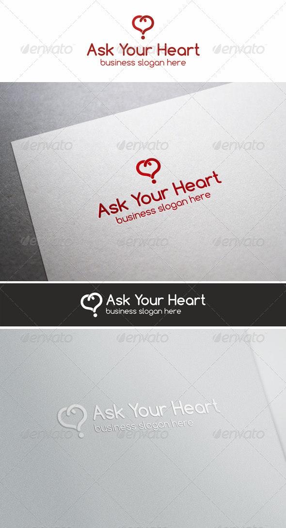Ask Your Heart \ Love Quiz Logo - Vector Abstract