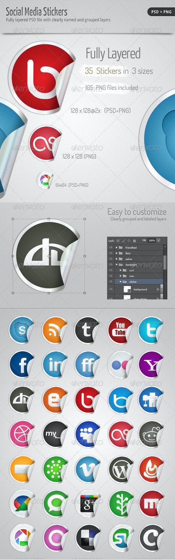 35 Social Media Stickers - Web Elements