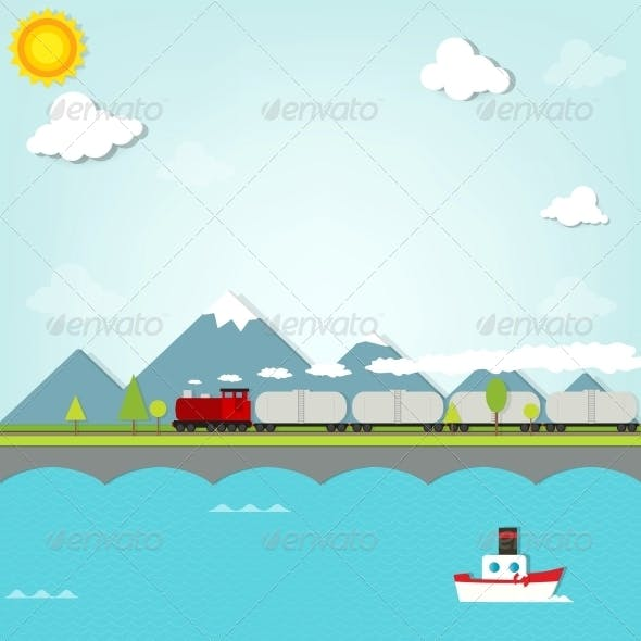 Train on Background of Mountains
