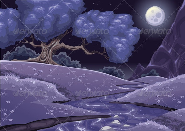 Cartoon nightly landscape with stream. - Landscapes Nature