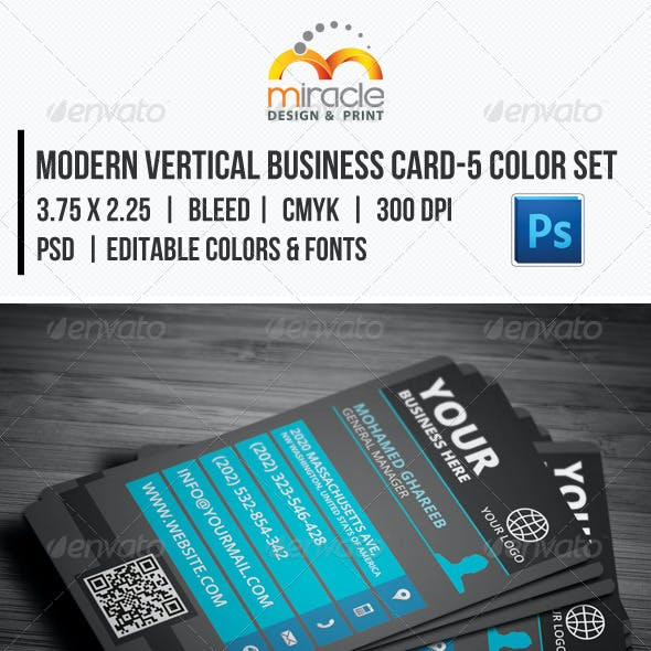 Modern Vertical Business Card-5 Color Set