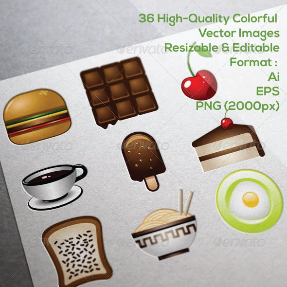 36 Food & Beverage Icons