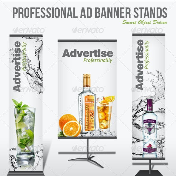 Professional Ad Banner Stand Mockup