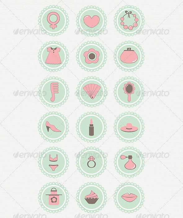 18 Vector Icons Women's Accessories - Decorative Symbols Decorative