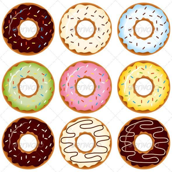 Set of Nine Donuts