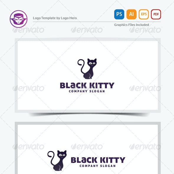 Black Kitty Logo Template