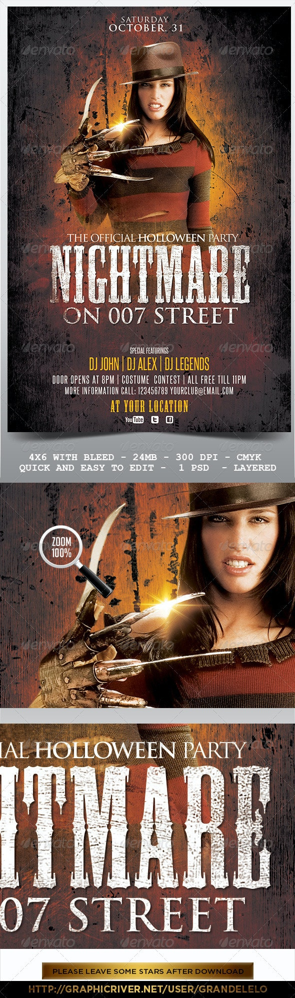 Nightmare on the Street Halloween Flyer - Clubs & Parties Events