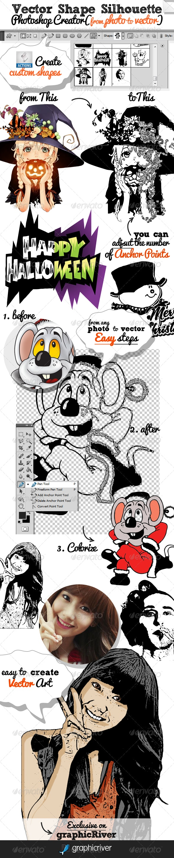 Vector Shapes and Silhouettes Photoshop Creator - Utilities Actions