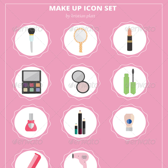 Flat Make-Up Vector Icons