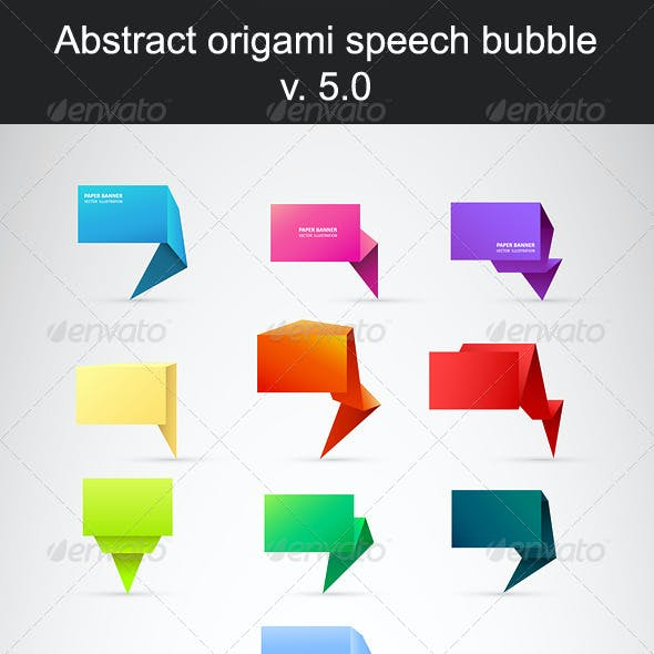 Abstract Origami Speech Bubble. Set 5