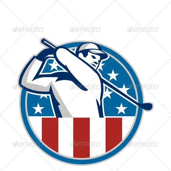 American Golfer Playing Golf Retro