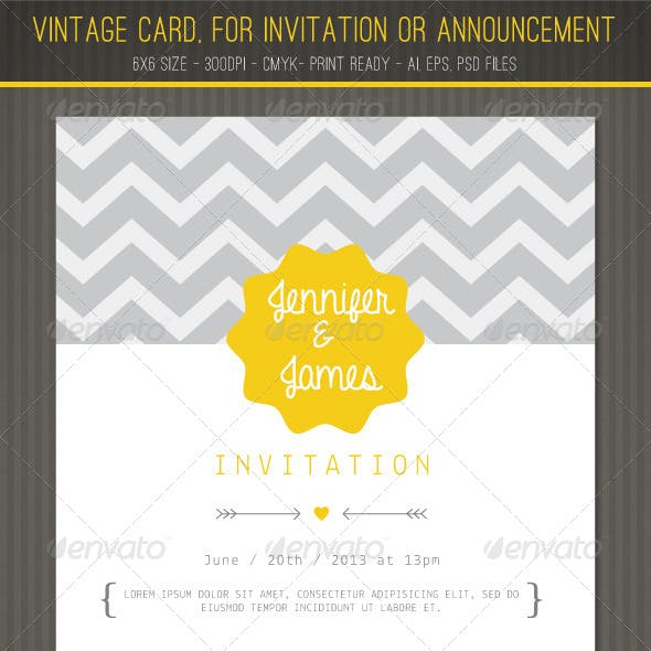 Vintage card for Invitation or Announcement