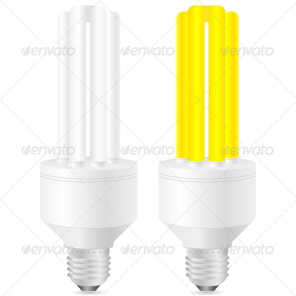 Energy Saving Light Bulb - Objects Vectors