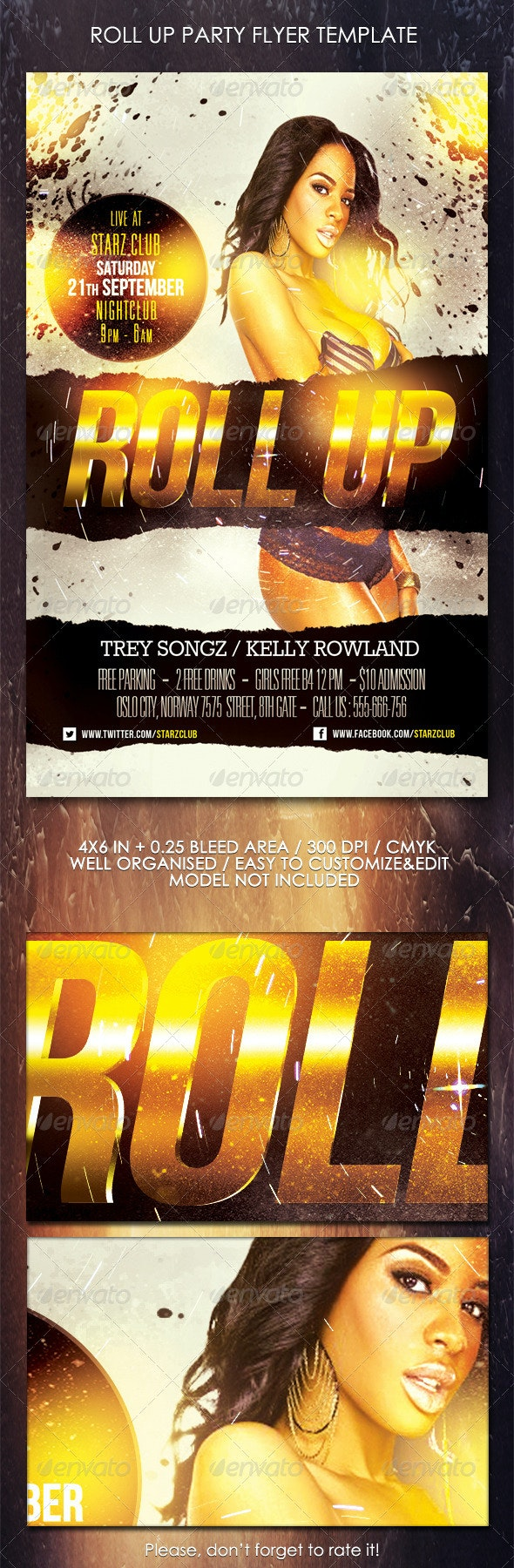 Roll Up Party Flyer Template - Clubs & Parties Events