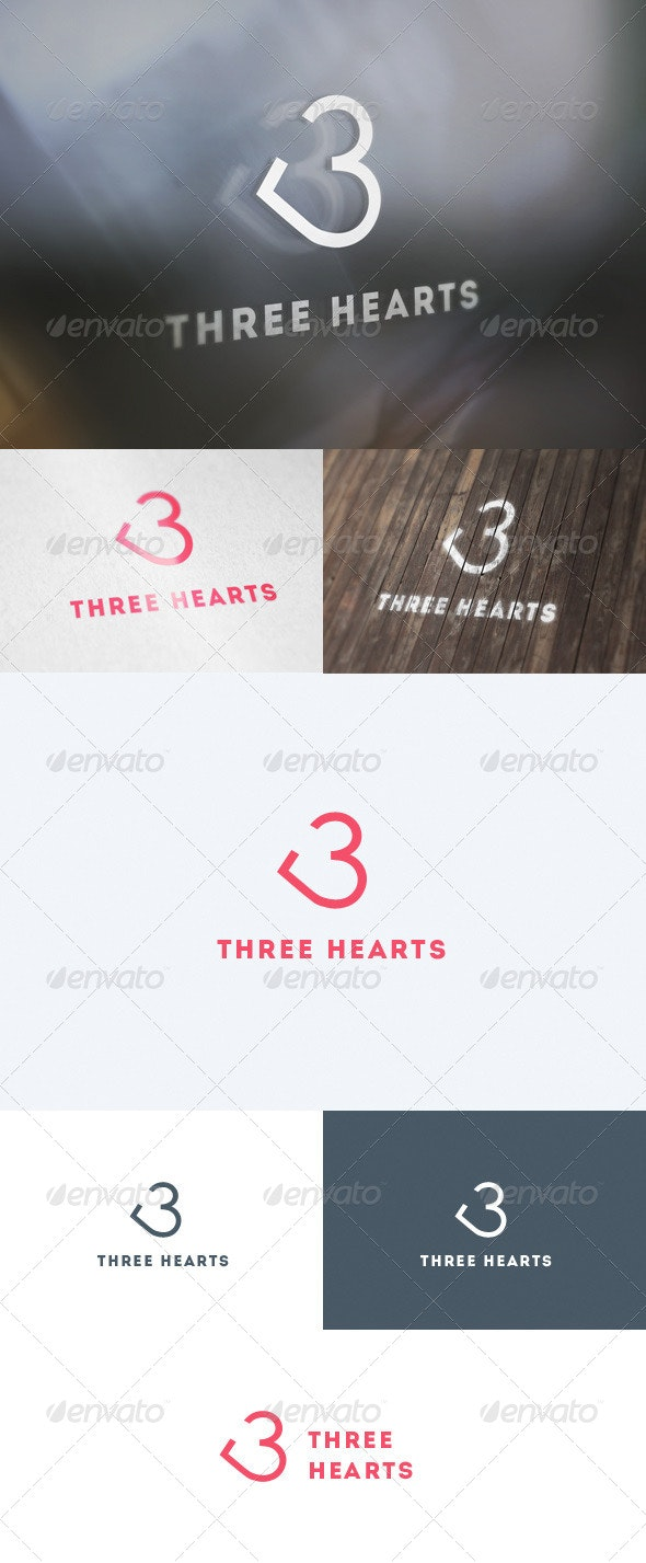 Three Hearts Logo - Numbers Logo Templates
