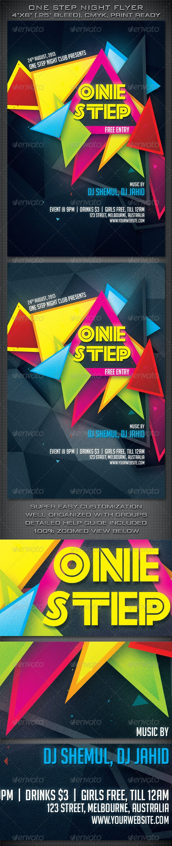 One Step Night Party Flyer - Clubs & Parties Events