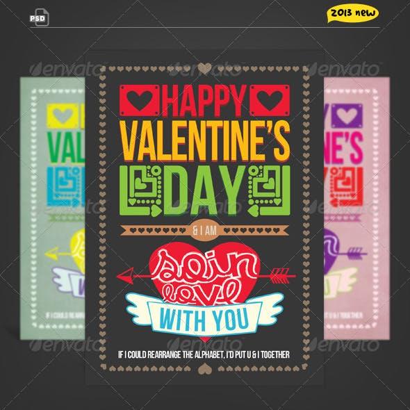 Valentine Card - So in Love Typography