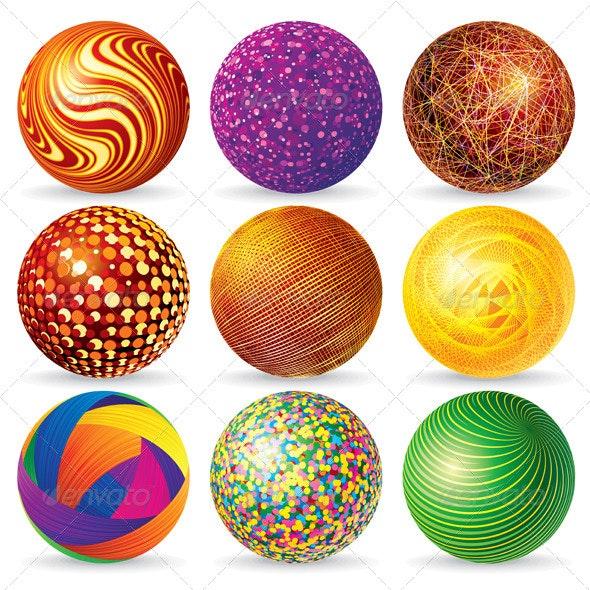 Abstract 3D Vector Sphere Logos - Decorative Symbols Decorative