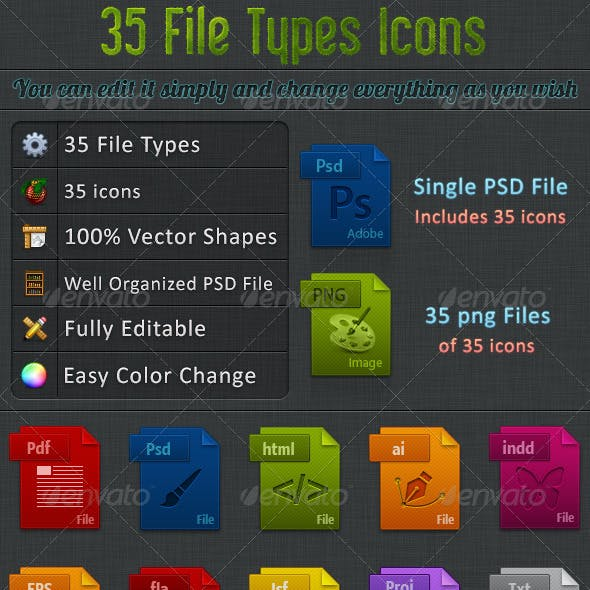 35 File Types Icons