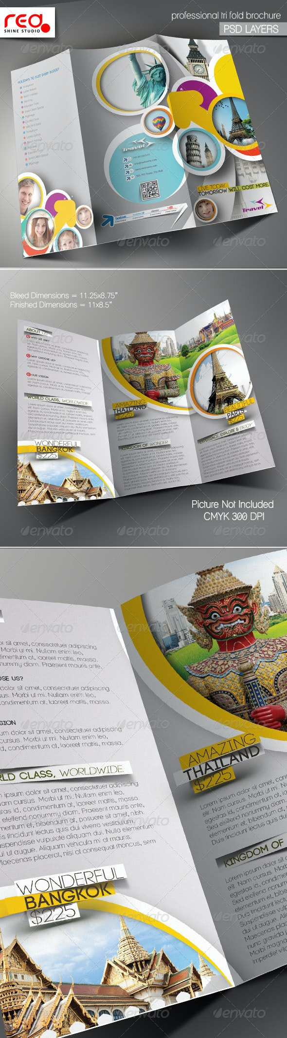Travel Agency Trifold Brochure Template - Corporate Brochures