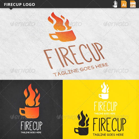 Fire in Cup Logo Template