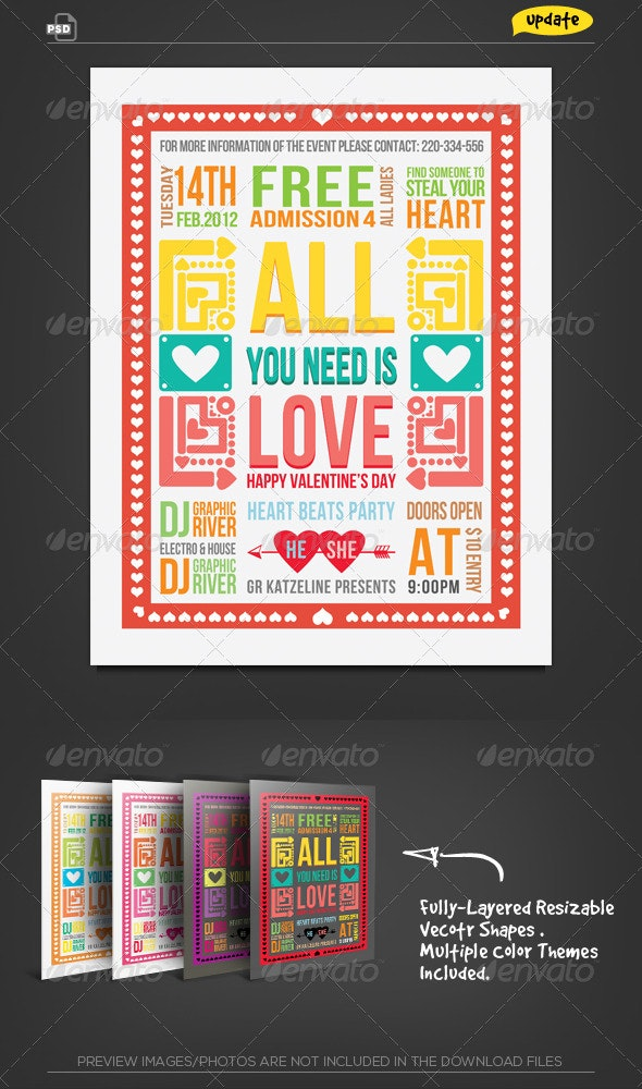 Valentine Retro Typography Flyer - Clubs & Parties Events