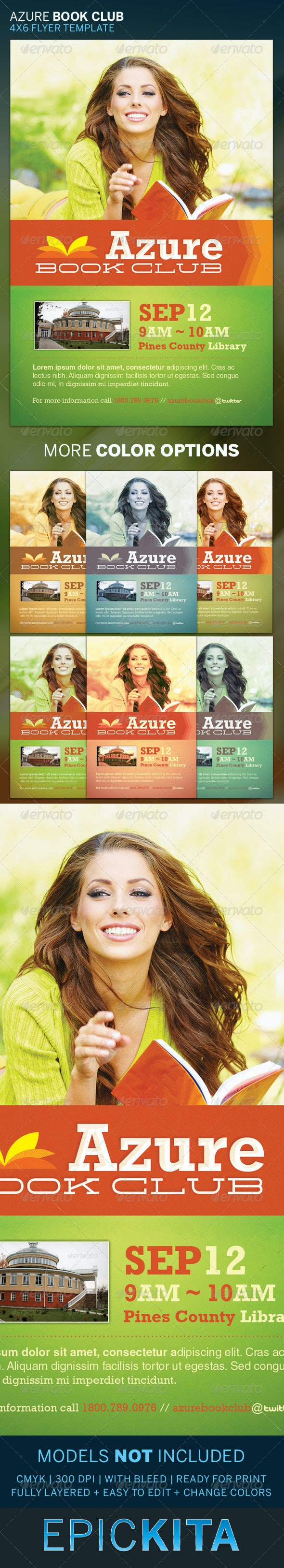 Azure Book Club Flyer Template - Events Flyers