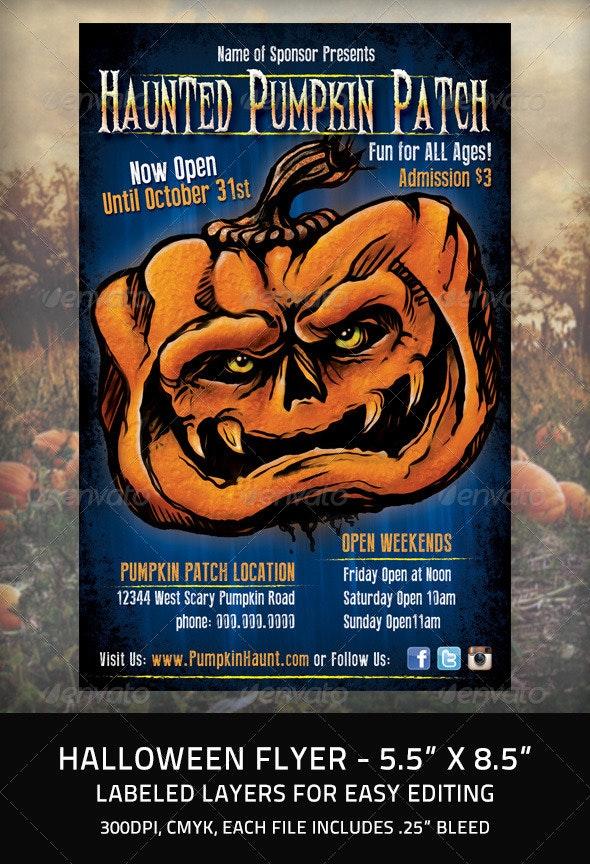 Halloween Flyer Haunted Pumpkin - Holidays Events