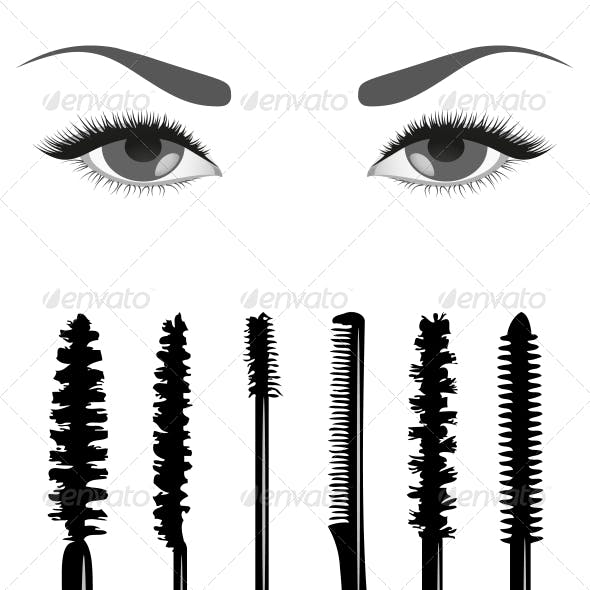 Set of Mascara and Eyes