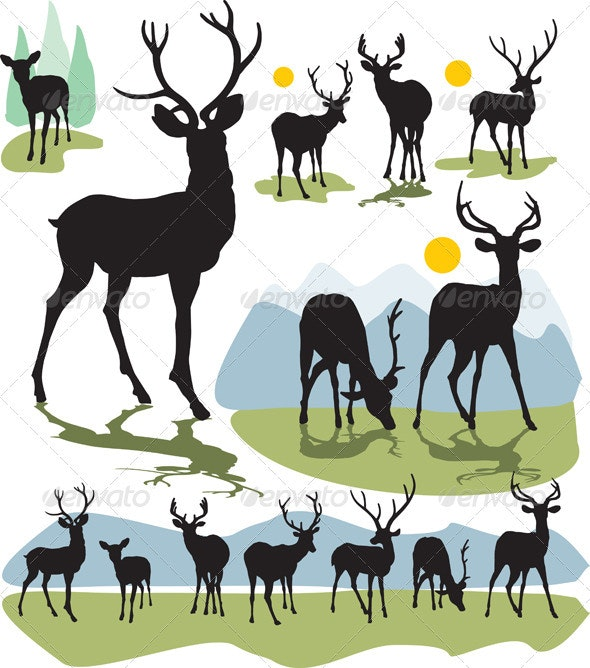 Set vector deer silhouettes - Animals Characters