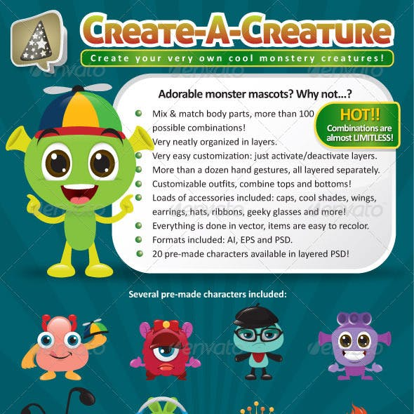 Create-A-Creature - Mascot Monster Pack